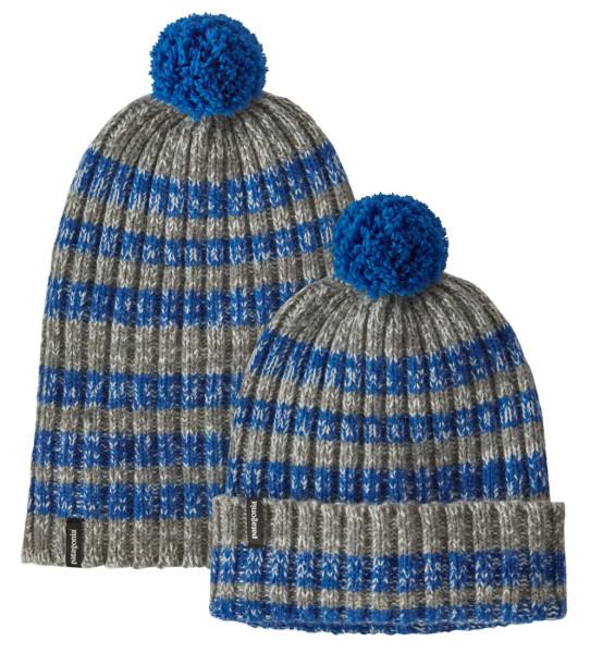 Patagonia Wool Pom Beanie ASAB Alfalfa Stripe Alpine Blue (ASAB)