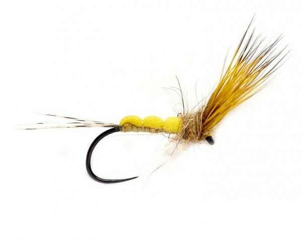 Fulling Mill Dry Fly - Foam Bodied May Dun Barbless yellow